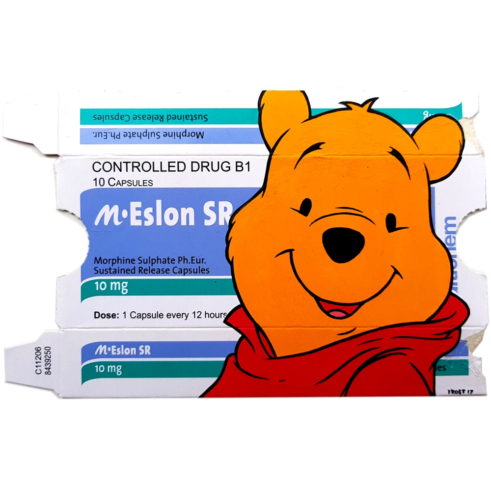 Pooh on Morphine - Acrylic on pharmaceutical package - 2017
