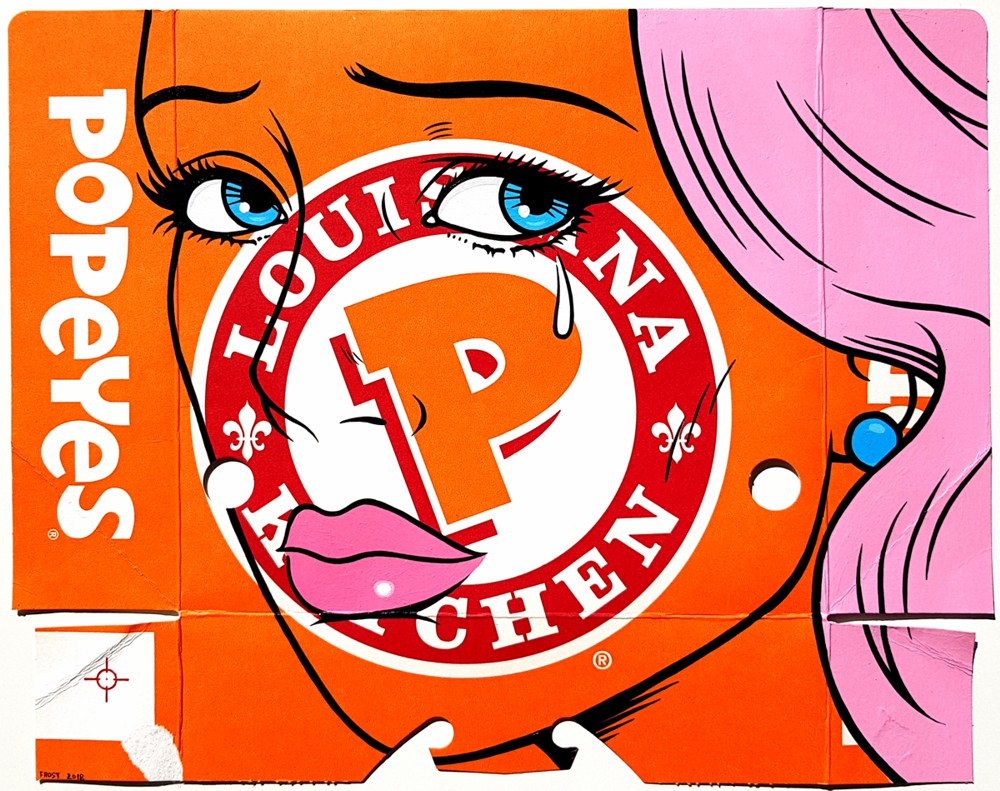 POPEYES - Acrylic on fast food packaging - 2018