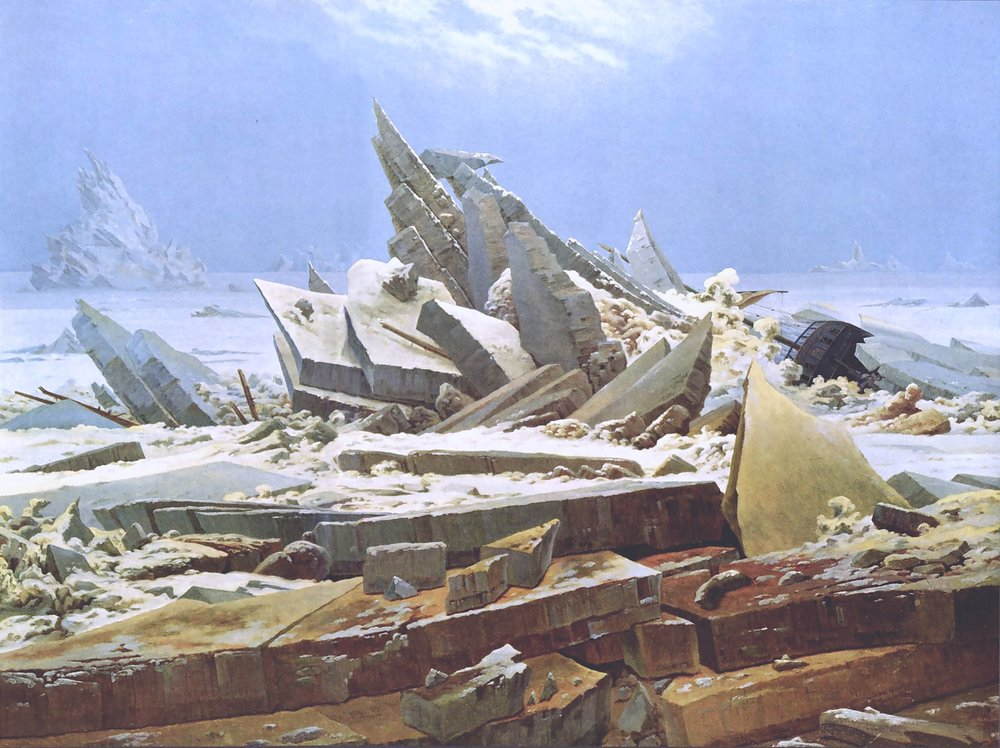 """O Mar de Gelo"" (1823–24), pintura de Caspar David Friedrich"