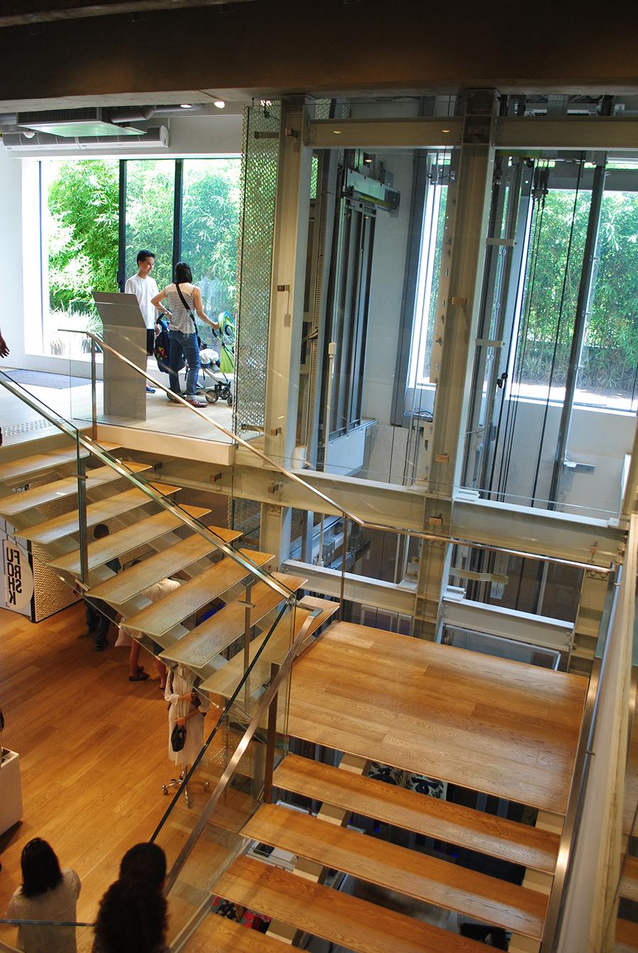 Escada aberta e caixa de elevador encerrada por vidro permitem a propagação da luz natural.