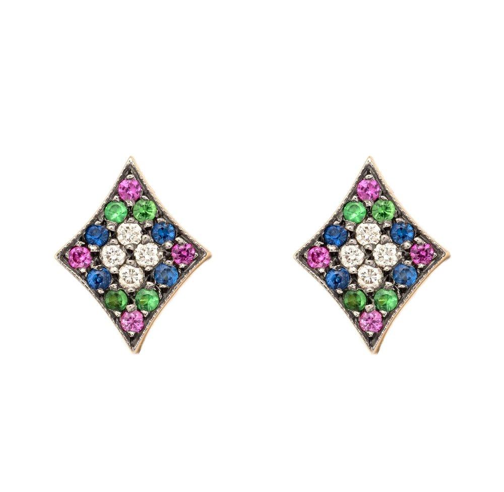 Rhombi Rainbow Earrings