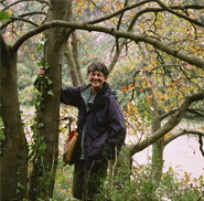 Libby Houston with a Houston Whitebeam tree.