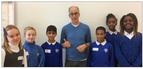 Poet Neal Zetter with six of our Year 5 children at the January 2017 workshop held at Stratford Library