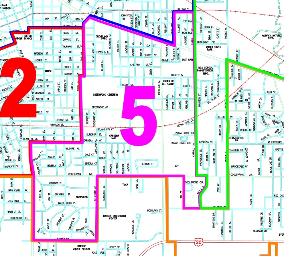 Fifth Ward Michigan City - Michigan cities map
