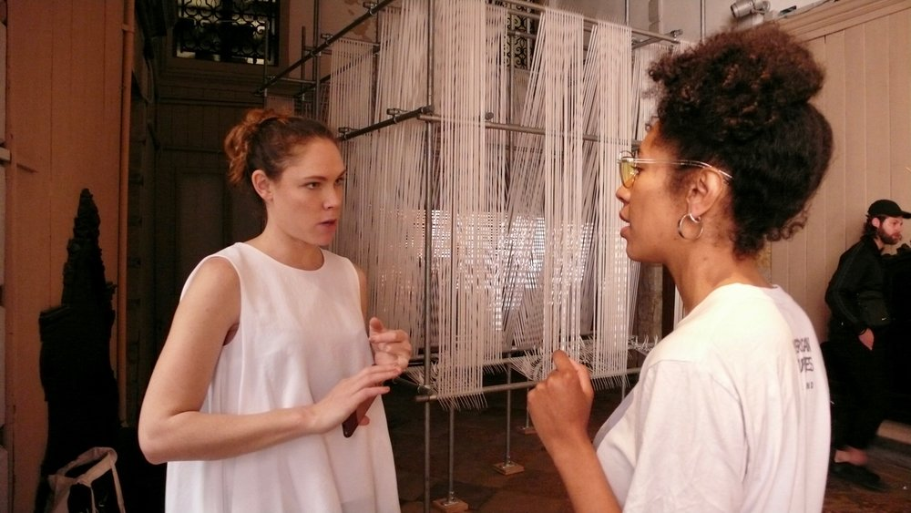 Jess Taylor and and Libita Clayton in front of Erika Tan, The 'Forgotten' Weaver.