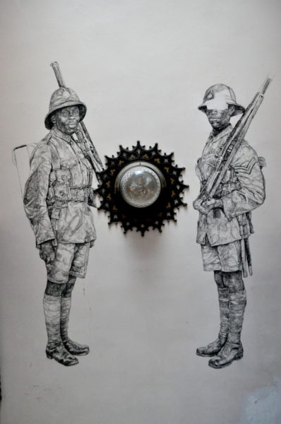 Barbara Walker.  Transcended  (2017), a new series of site specific, large-scale ephemeral wall drawings depicting male and soldiers from the Commonwealth in World War I.