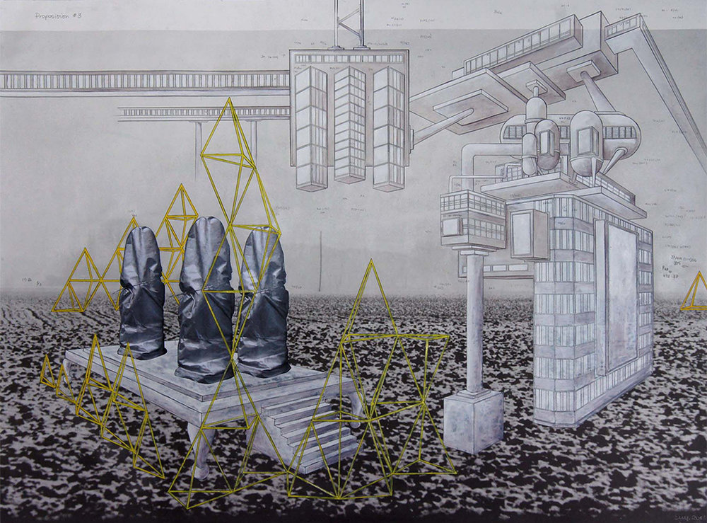 Proposition #4'. 2014. Pencil, ink and gouache on lithograph