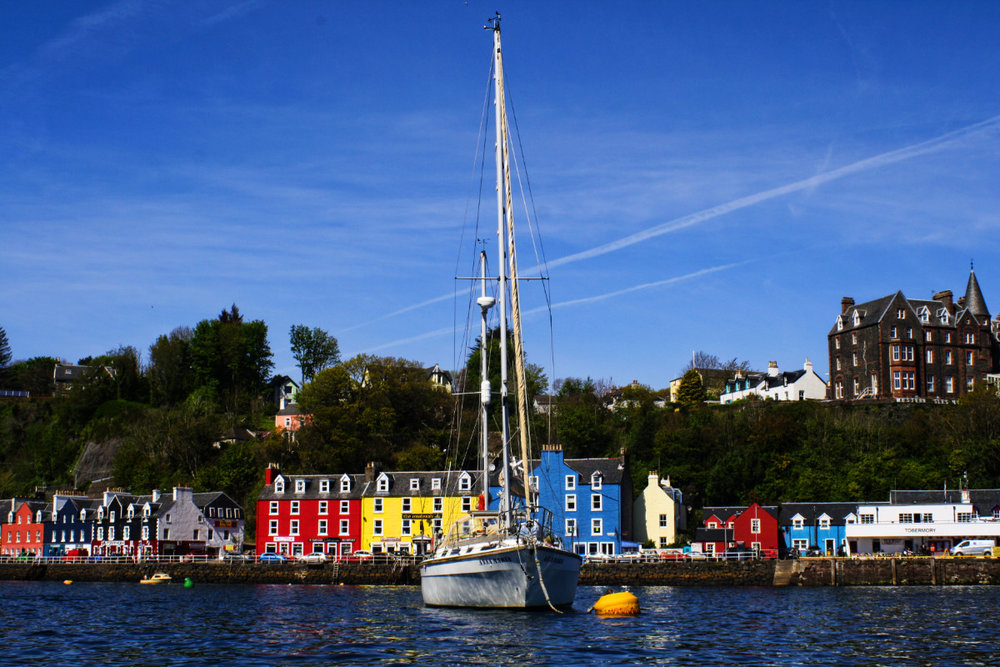 On our mooring in Tobermory Harbour.