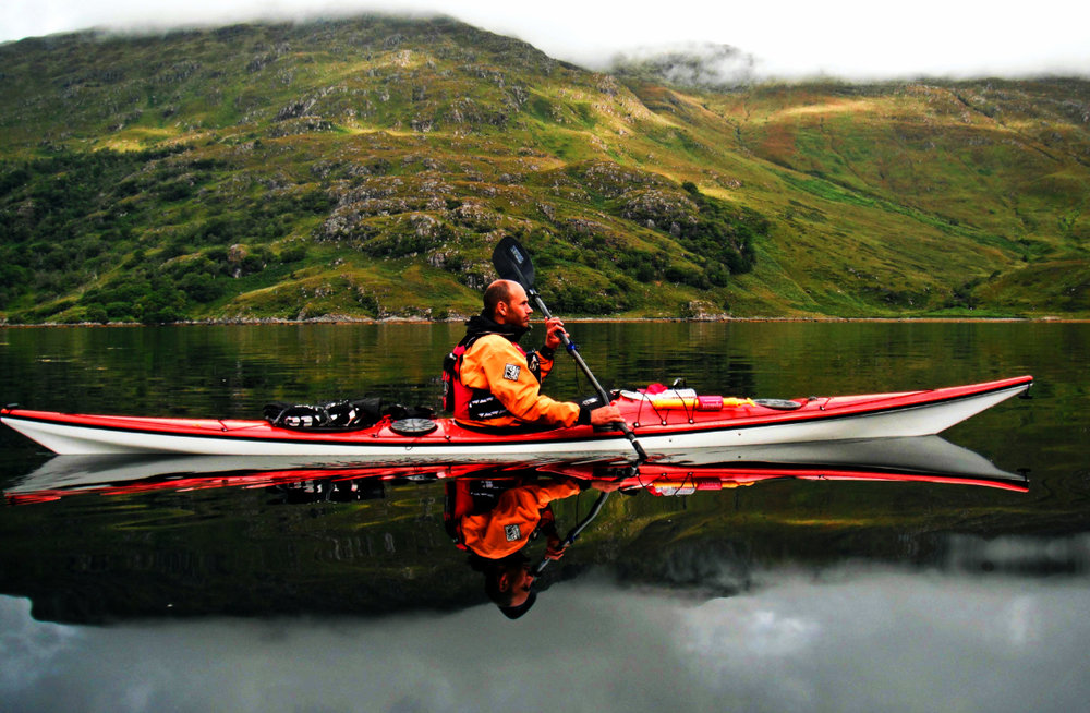 Perfect paddling conditions in loch nevis, scotland