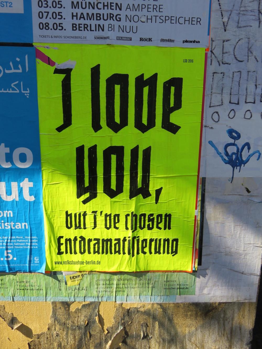 """""""I Love You But I've Chosen Entdramatisierung"""" at the V olksbuhne"""