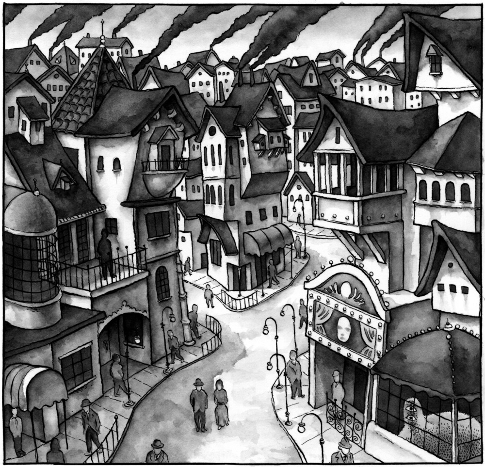 Panel from  Monster Parade . Quill pen and watercolor on watercolor paper.