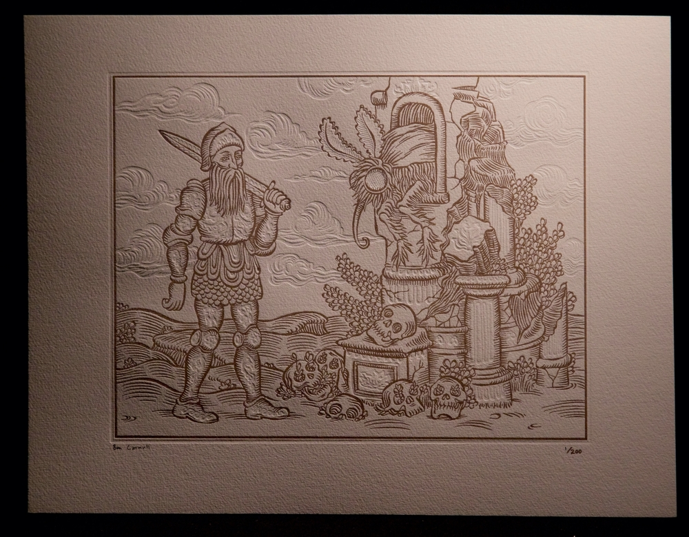 2-color letterpressed print (sepia/blind deboss), printed on Hahnemühle Copperplate paper.