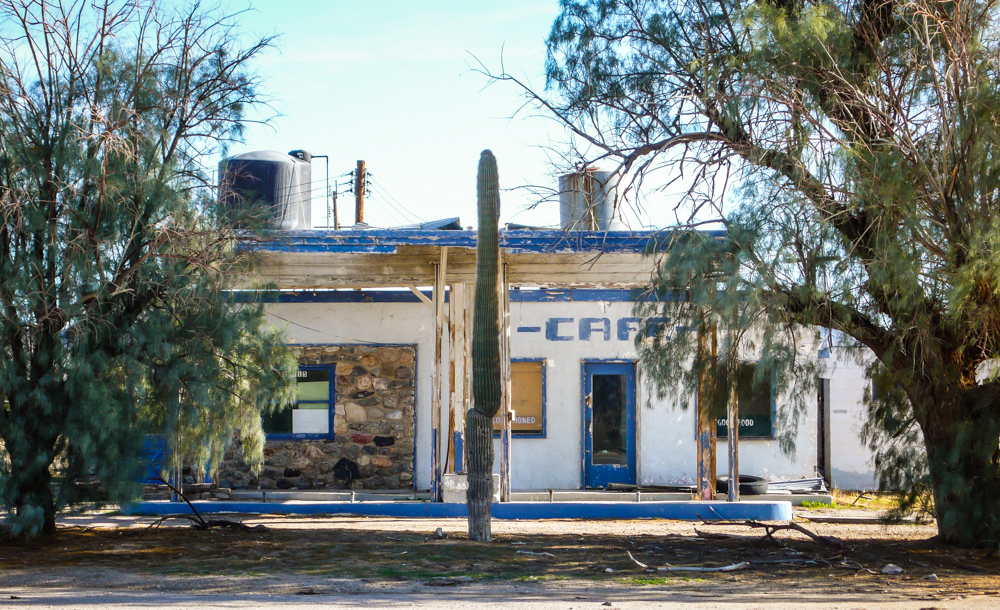An old cafe and gas station in Essex, CA. In its day it offered 'air conditioning' and 'good food'.