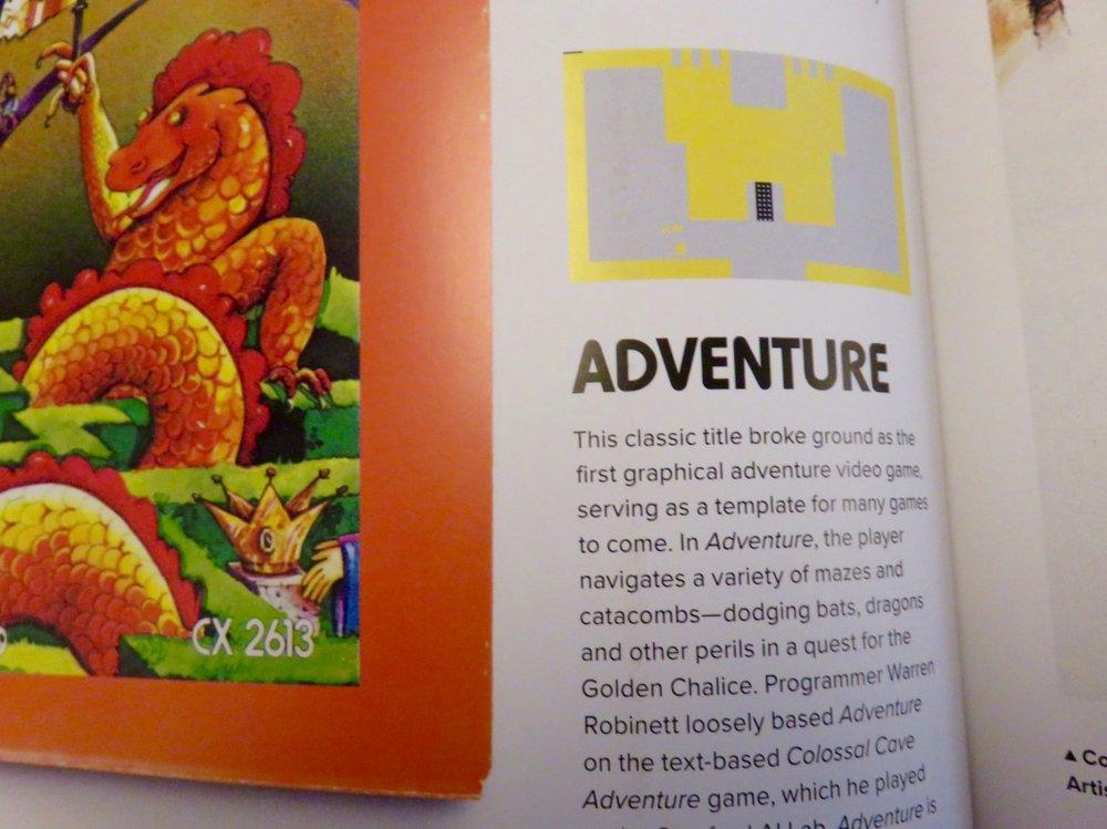 Adventure:box art and gameplay screen.©The Art of Atari