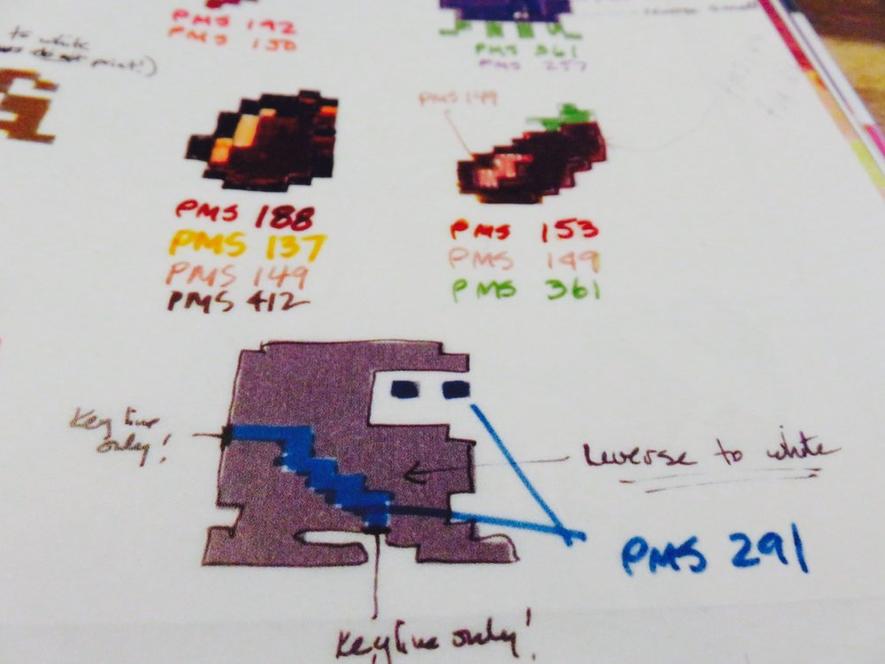 Pixel map for  Dig Dug with Pantones.© The Art of Atari
