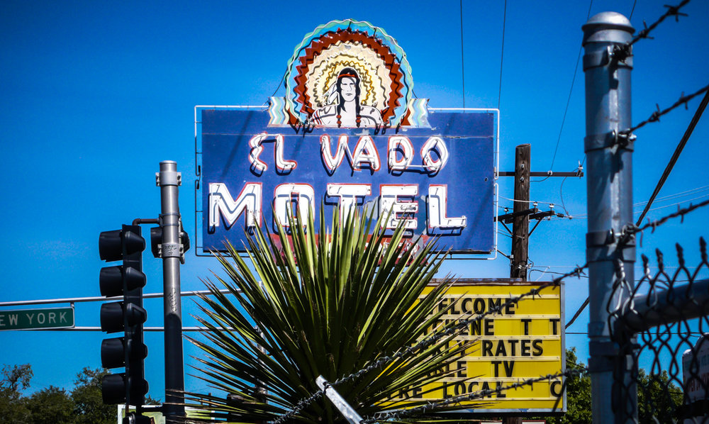 The El Vado Motel was a motor court style motel at the Western end of Albuquerque's Central Avenue. An old motor court in the southwest style, it is now boarded up and surrounded by barbed wire.