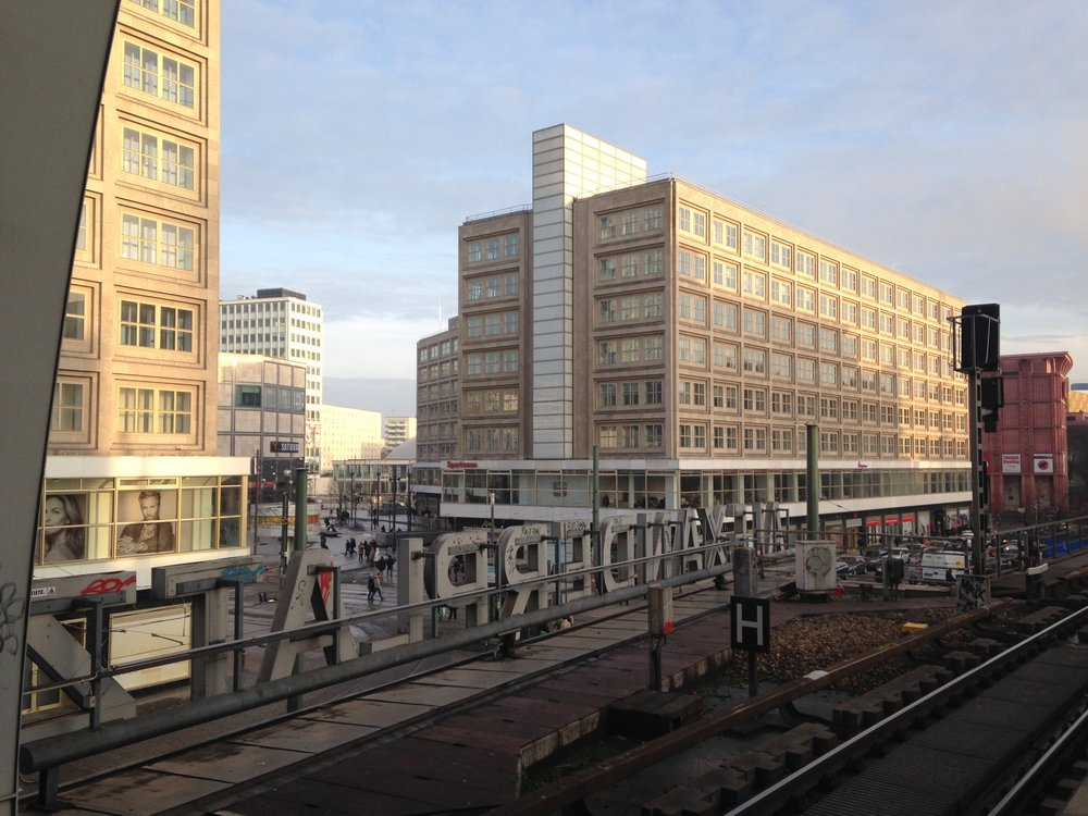 Berolinahaus (left edge of photo) and Alexanderhaus (center/right) seen from the S-Bahn Alexanderplatz platform.
