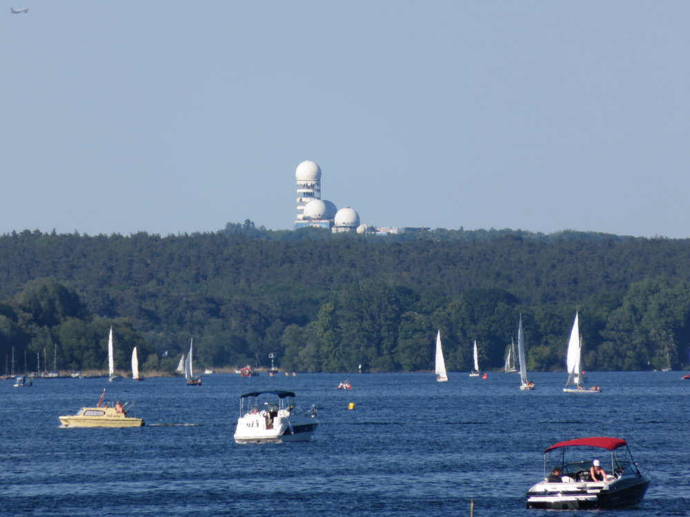 The ruins of Teufelsberg across the waters of the Havel