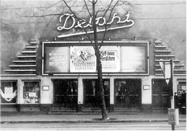 The façade of the Stummfilmkino Delphi in 1955. The theater still exists, but sadly the signage does not. Photo: Deastar via  Wikimedia Commons