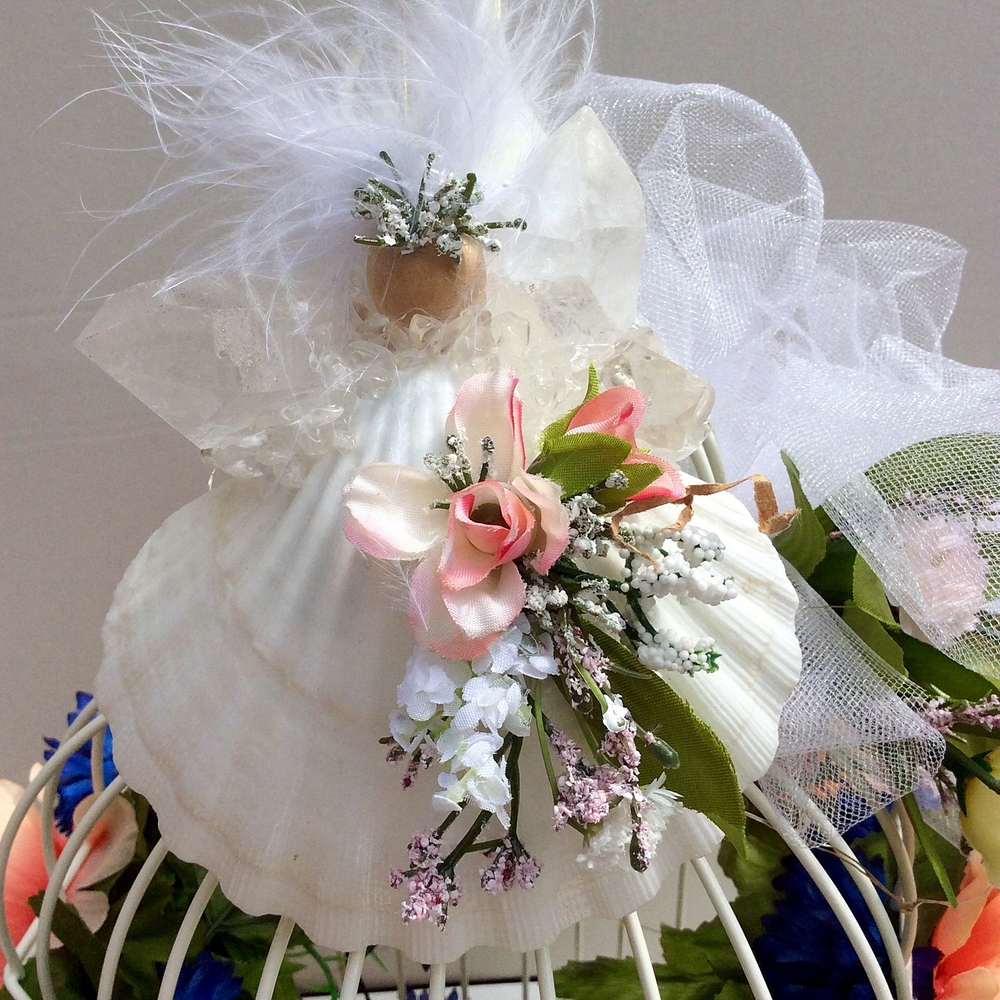 Wedding Angel Keepsake with Cream and Coral Bouquet