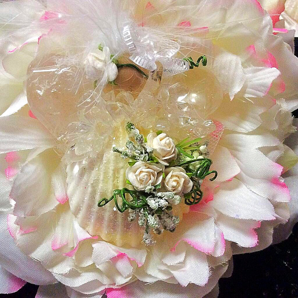 Wedding Bouquet Keepsake Accessory:  $42.00; inscription included in back of shell by messaging me on Contact From.