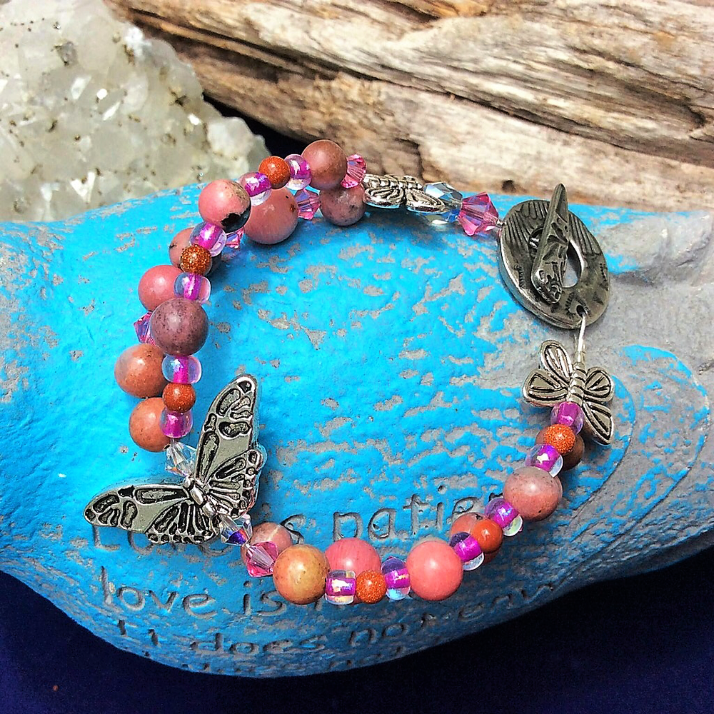 Butterflies are Free  Double Strand Rhodonite and Swarovski Crystal Bracelet    $44.00