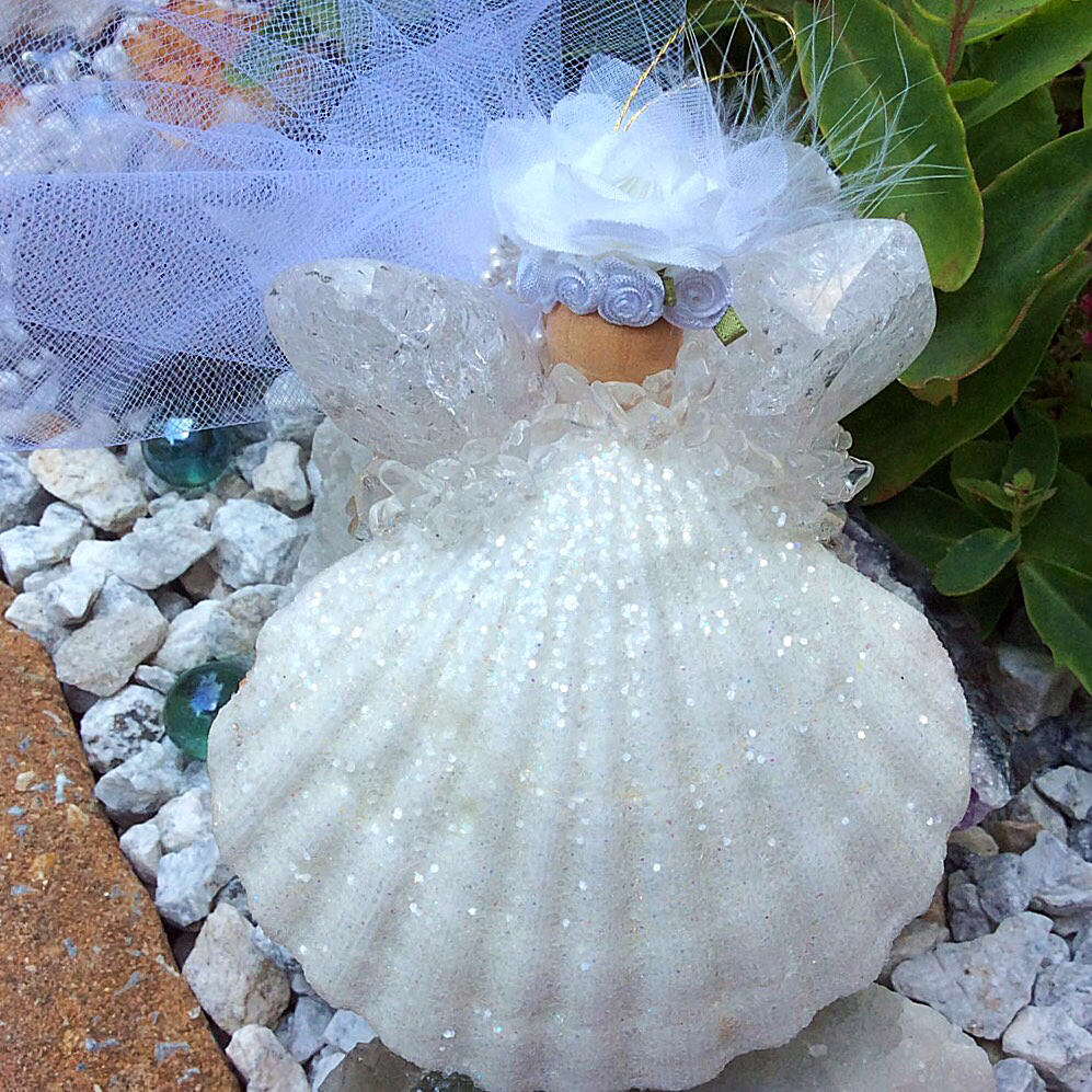 Earth Wish Angels Wedding Keepsake with crackled quartz crystal is ready for bride's personalized bridal bouquet wedding colors.