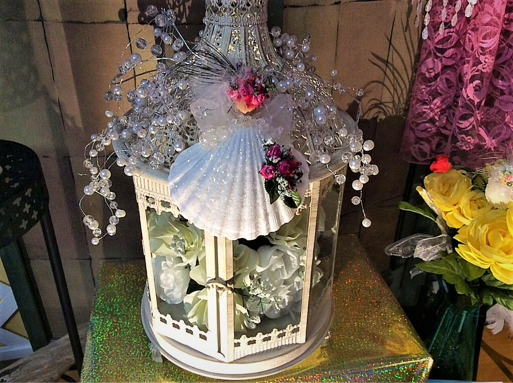 Custom Wedding Cage and Wedding Angel Keepsake is ready for Bridal Bouquet