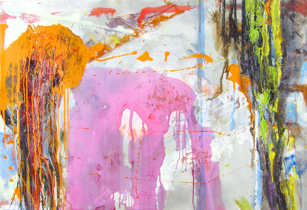 Lunge , oil, acrylic, caulk and spray paint on paper, 30 in x 44 in, 2005, private collection.