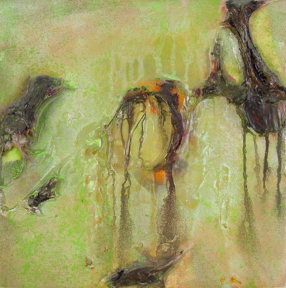 Residuum , oil and acrylic on canvas, 12 in x 12 in, 2005.