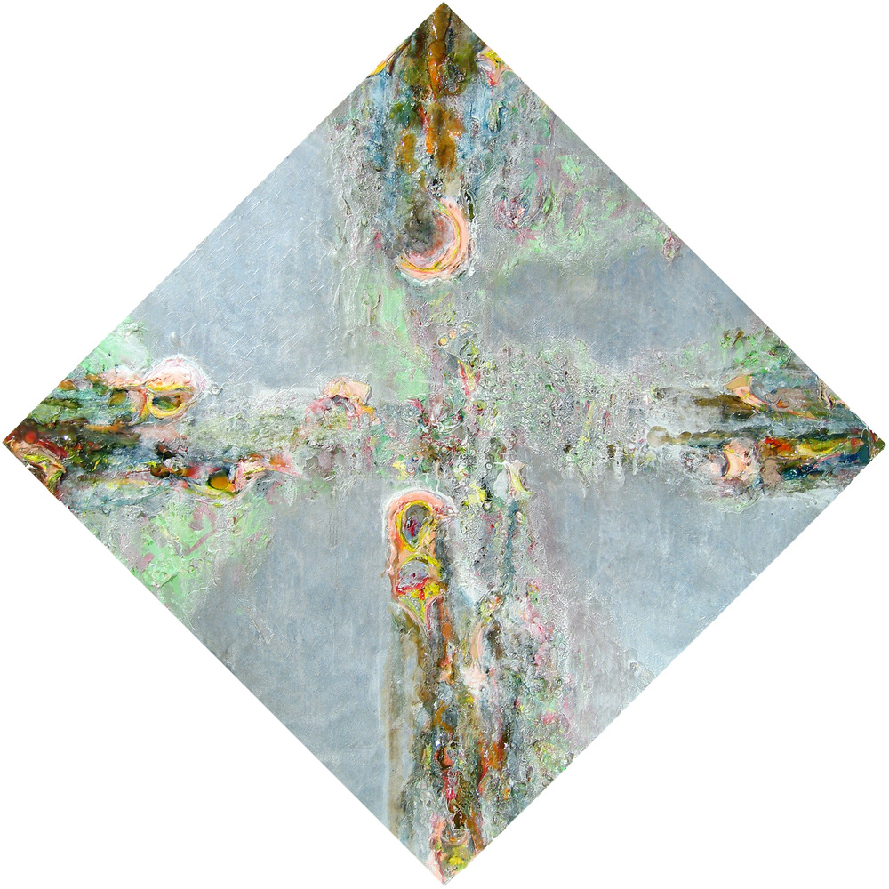 Brú na Bóinne , oil, acrylic, metallic paint and sand on canvas, 68 in x 68 in overall, 2006.