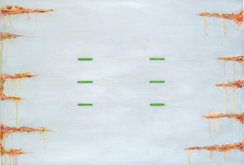 Laconic,  oil, acrylic, metallic paint and sand on canvas, 30 in x 44 in, 2007, private collection.