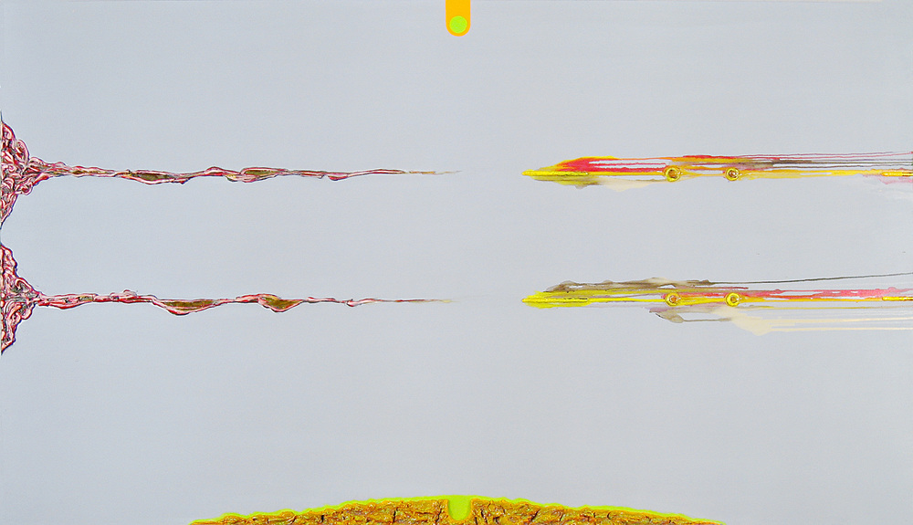 Keystone , oil, acrylic, metallic paint and sand on canvas, 48 in x 84 in, 2009.