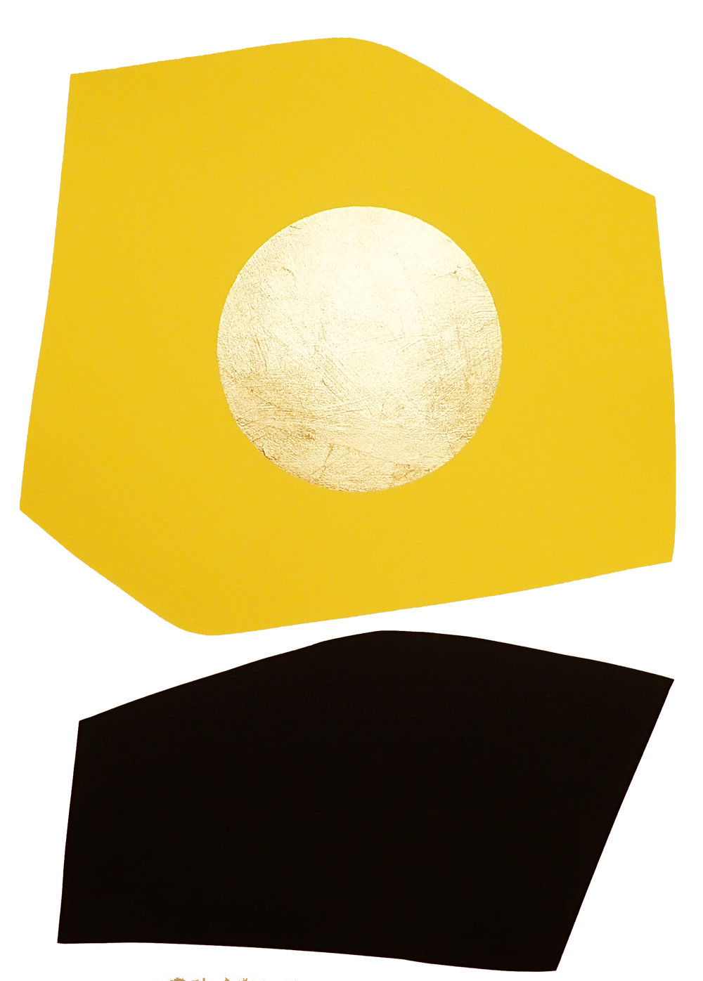 Yellow and Black Block with Gold Circle