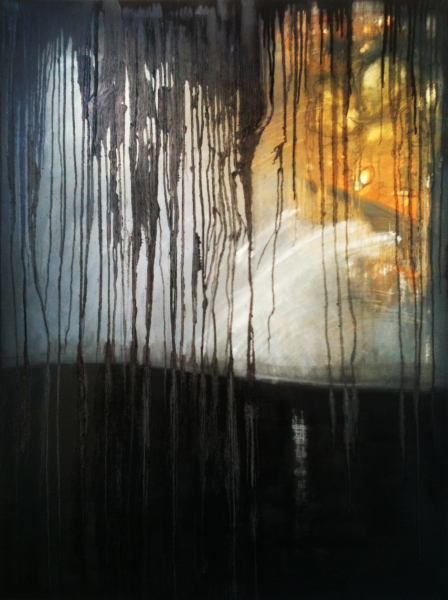 "BLACK FALL, OIL ON CANVAS, 36x48"", 2012."