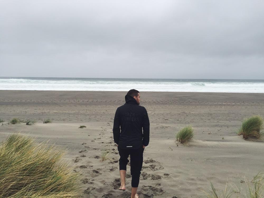 Walking onto Neskowin beach