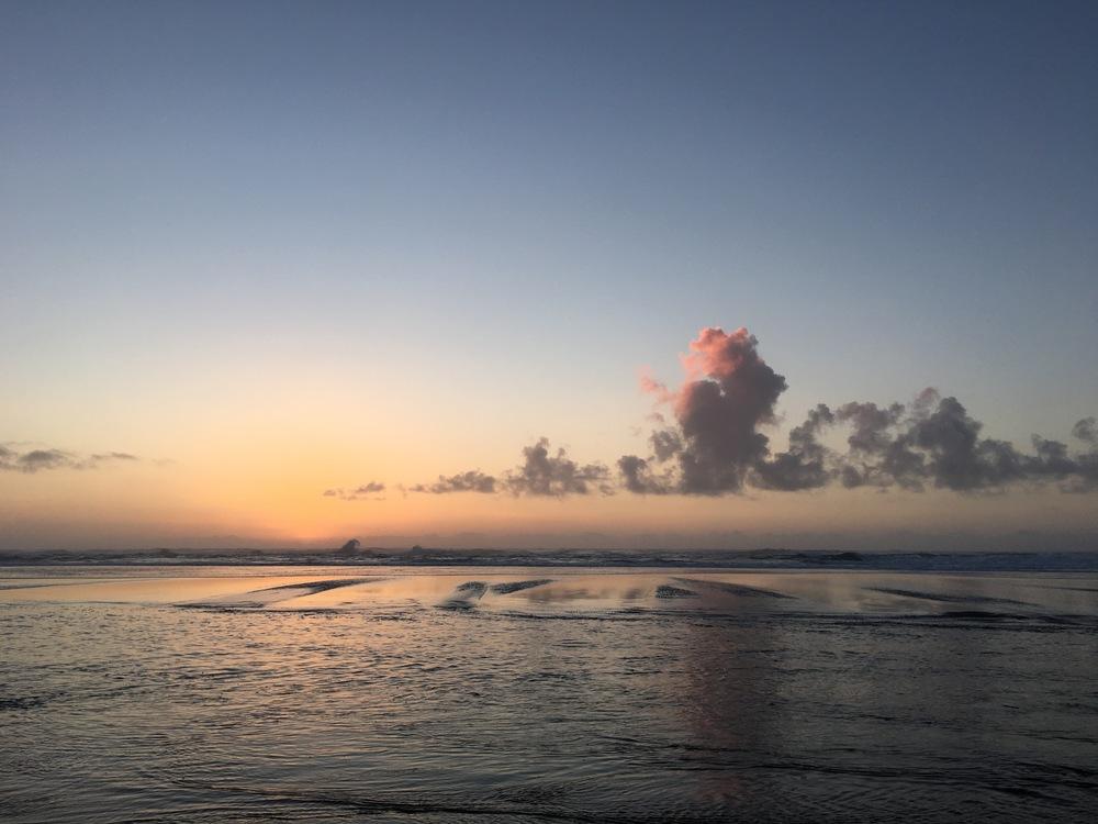 Neskowin beach at sunset