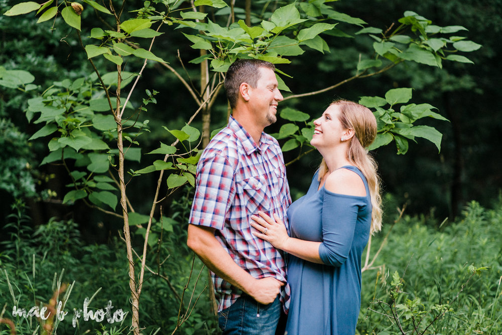 becca and rich's woodsy summer engagement session at ford nature center in mill creek park in youngstown ohio photographed by cleveland wedding photographer mae b photo-49.jpg
