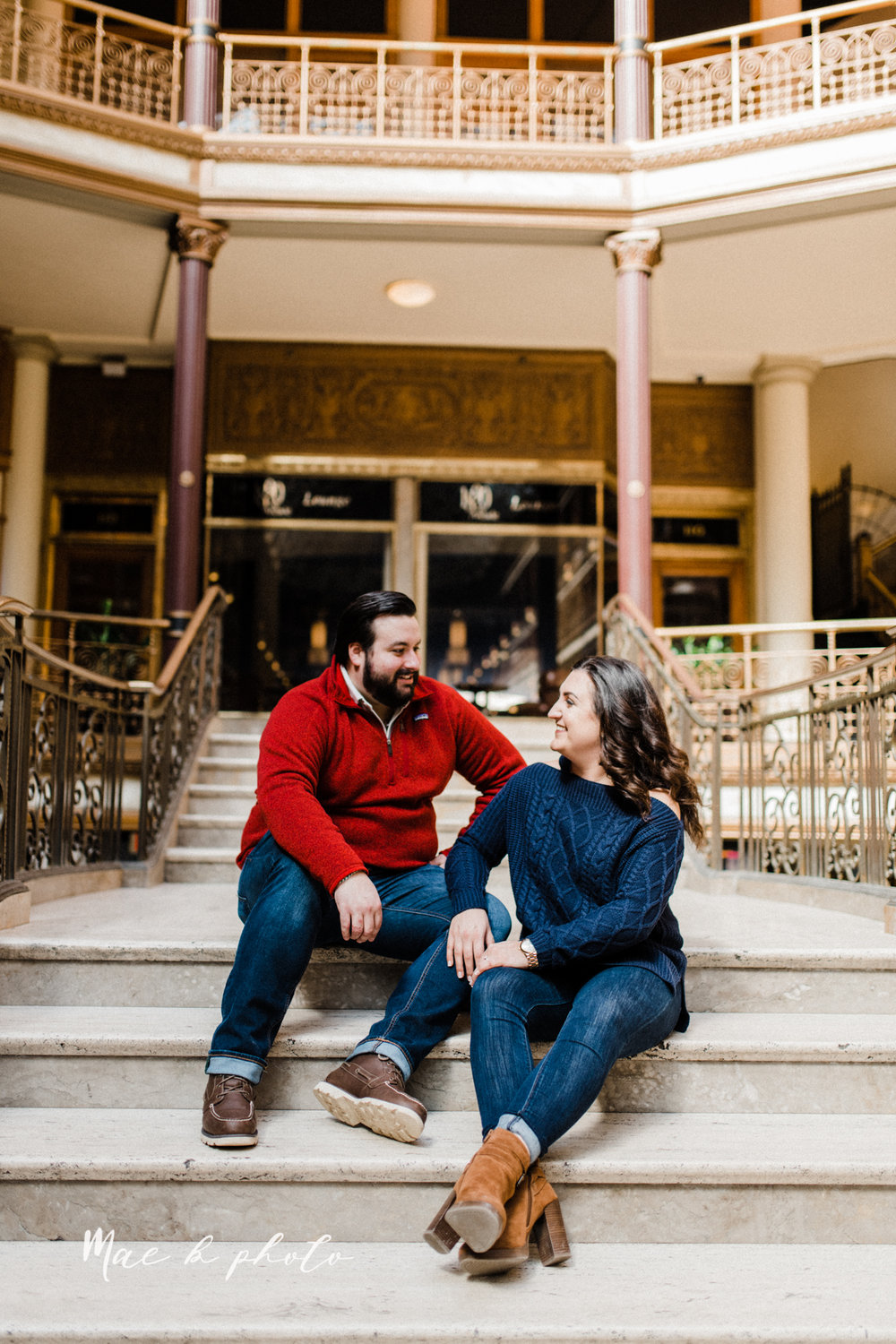 casey and matthew's personal winter cleveland engagement session at the clevelander and east fourth street and edgewater park in cleveland ohio photographed by youngstown wedding photographer mae b photo-26.jpg