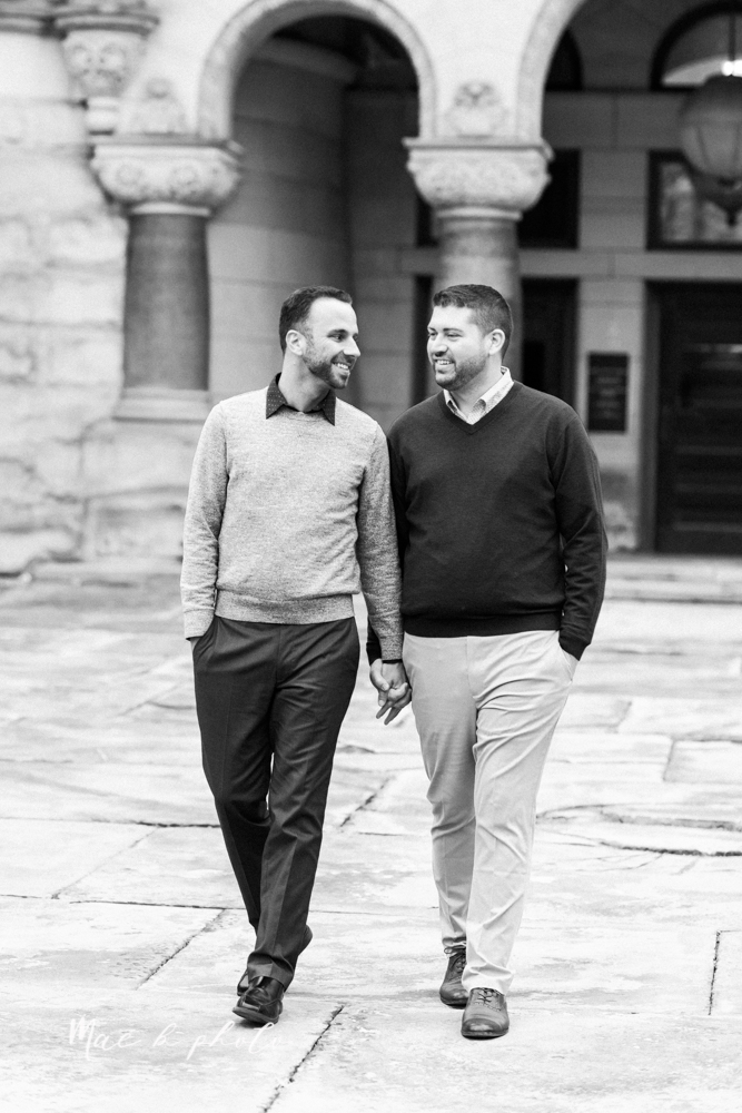 marcus and anthony's same sex winter lifestyle in home engagement session at the chase building in downtown warren ohio and at their home in niles ohio photographed by youngstown wedding photographer mae b photo-21.jpg