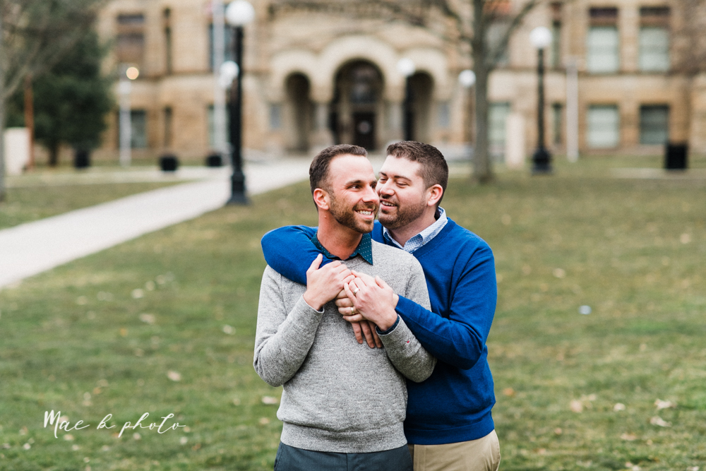 marcus and anthony's same sex winter lifestyle in home engagement session at the chase building in downtown warren ohio and at their home in niles ohio photographed by youngstown wedding photographer mae b photo-25.jpg