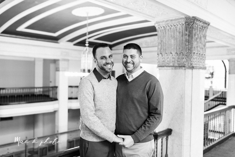 marcus and anthony's same sex winter lifestyle in home engagement session at the chase building in downtown warren ohio and at their home in niles ohio photographed by youngstown wedding photographer mae b photo-8.jpg