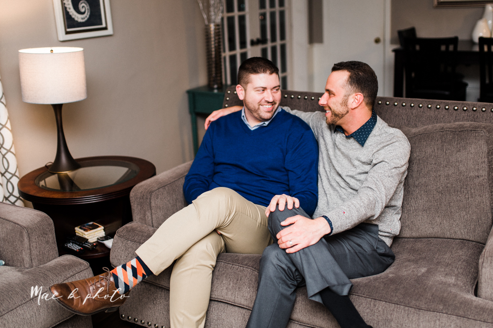 marcus and anthony's same sex winter lifestyle in home engagement session at the chase building in downtown warren ohio and at their home in niles ohio photographed by youngstown wedding photographer mae b photo-38.jpg