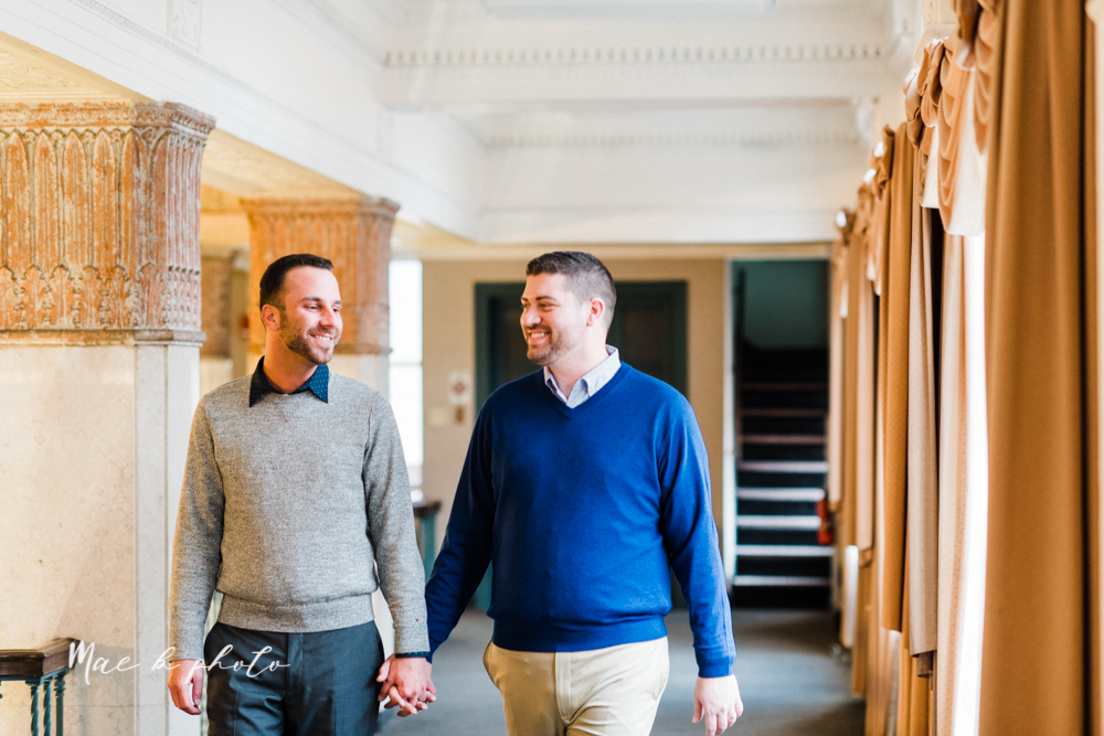 marcus and anthony's same sex winter lifestyle in home engagement session at the chase building in downtown warren ohio and at their home in niles ohio photographed by youngstown wedding photographer mae b photo-3.jpg