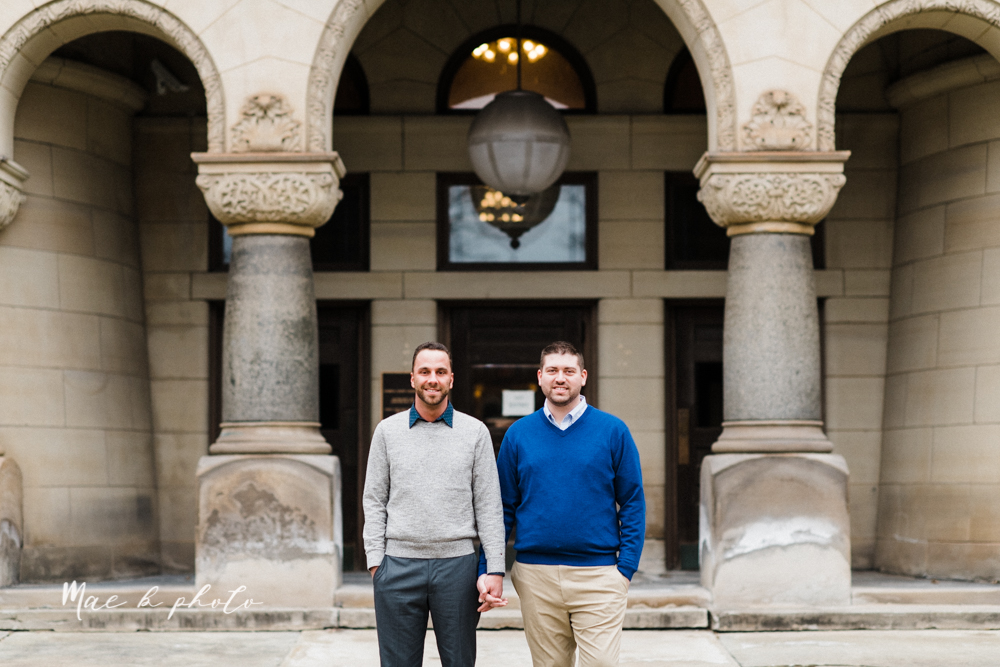 marcus and anthony's same sex winter lifestyle in home engagement session at the chase building in downtown warren ohio and at their home in niles ohio photographed by youngstown wedding photographer mae b photo-19.jpg