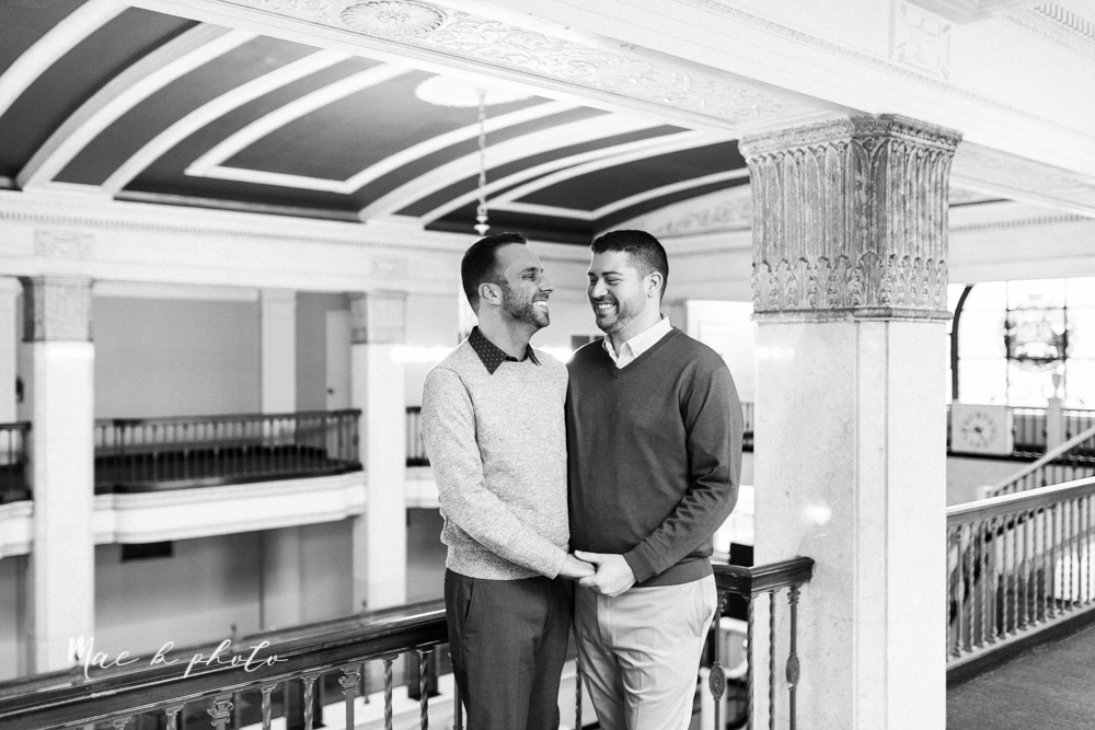 marcus and anthony's same sex winter lifestyle in home engagement session at the chase building in downtown warren ohio and at their home in niles ohio photographed by youngstown wedding photographer mae b photo-6.jpg