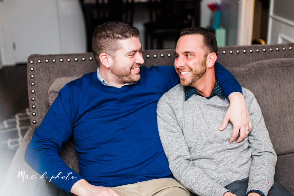 marcus and anthony's same sex winter lifestyle in home engagement session at the chase building in downtown warren ohio and at their home in niles ohio photographed by youngstown wedding photographer mae b photo-32.jpg