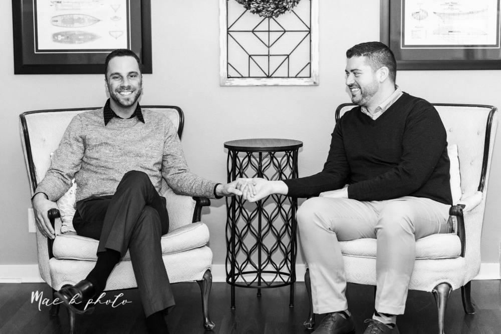 marcus and anthony's same sex winter lifestyle in home engagement session at the chase building in downtown warren ohio and at their home in niles ohio photographed by youngstown wedding photographer mae b photo-42.jpg