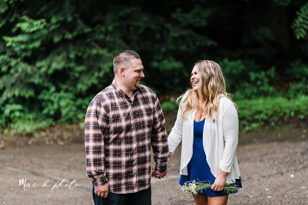 elizabeth and dan's rainy summer engagement session at ford nature center in mill creek park and whistle and keg bar in downtown youngstown ohio photographed by youngstown wedding photographer mae b photo-4.jpg