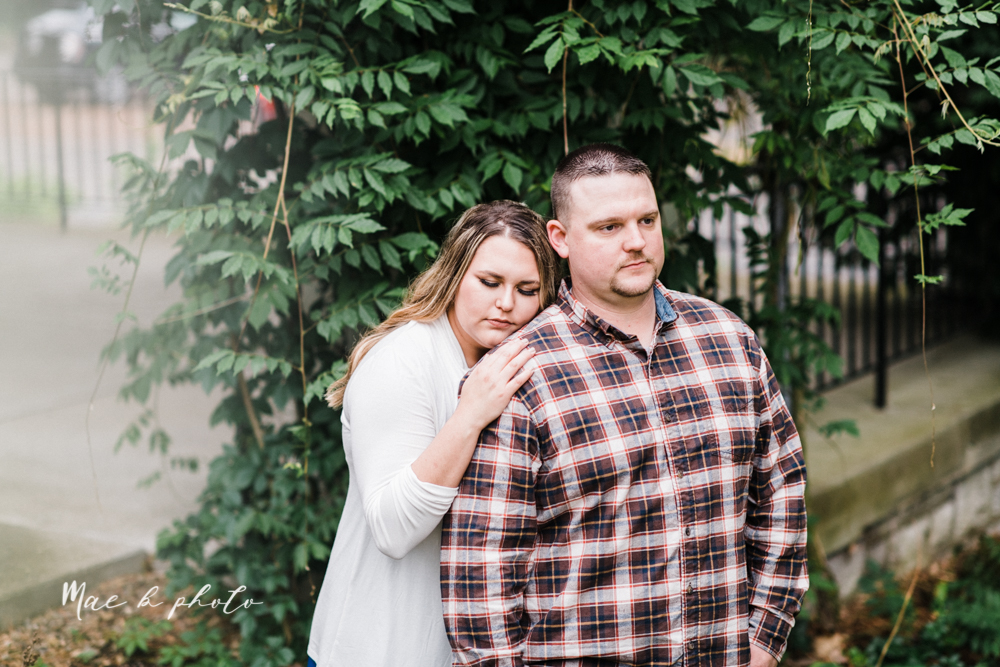 elizabeth and dan's rainy summer engagement session at ford nature center in mill creek park and whistle and keg bar in downtown youngstown ohio photographed by youngstown wedding photographer mae b photo-20.jpg
